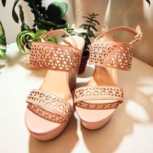 "Bamboo Light Pink platform wedges 4"" heels"